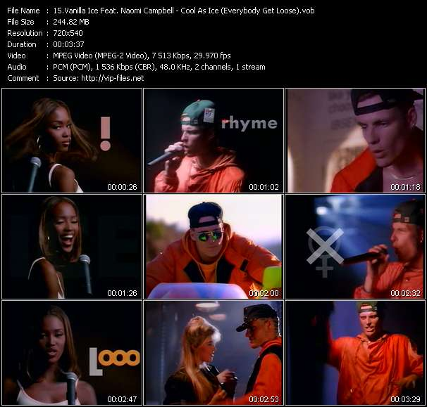 Vanilla Ice Feat. Naomi Campbell video - Cool As Ice (Everybody Get Loose)