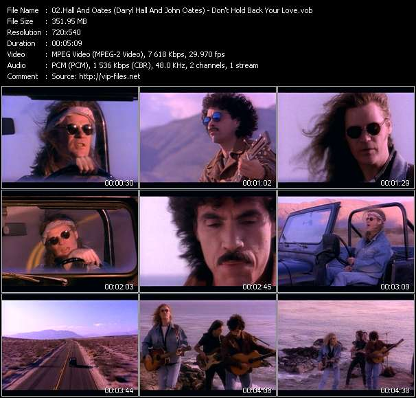 Hall And Oates (Daryl Hall And John Oates) video - Don't Hold Back Your Love