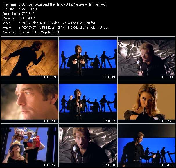 Huey Lewis And The News HQ Videoclip «It Hit Me Like A Hammer»