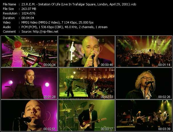 R.E.M. video - Imitation Of Life (Live In Trafalgar Square, London, April 29, 2001)