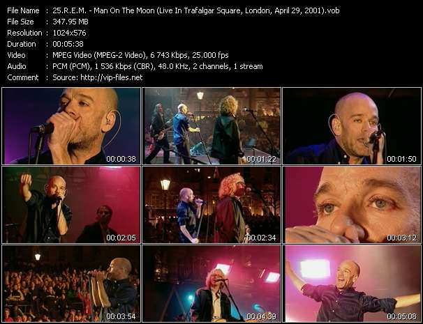 R.E.M. video - Man On The Moon (Live In Trafalgar Square, London, April 29, 2001)
