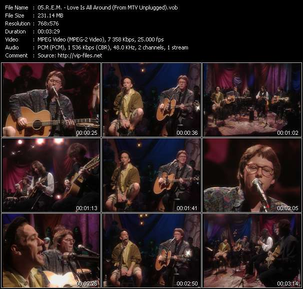 R.E.M. video - Love Is All Around (From MTV Unplugged)