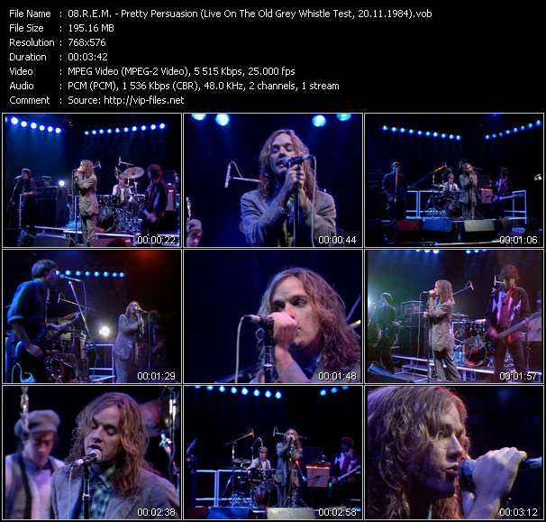R.E.M. video - Pretty Persuasion (Live On The Old Grey Whistle Test, 20.11.1984)