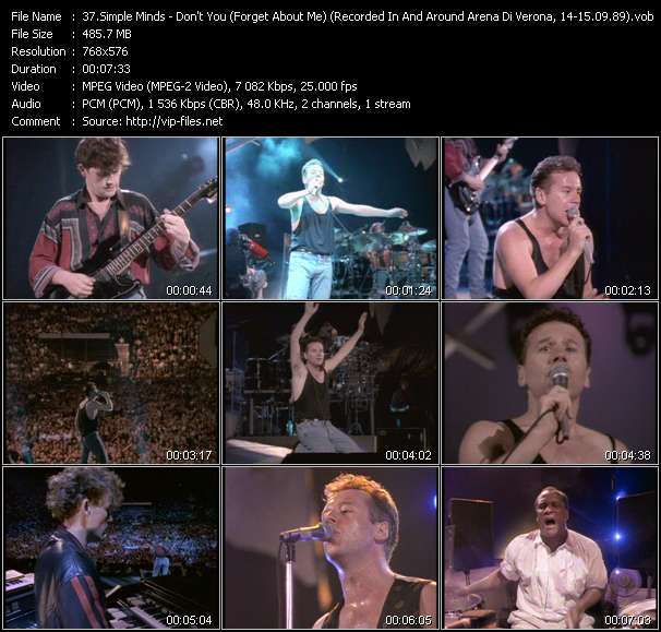 Simple Minds HQ Videoclip «Don't You (Forget About Me) (Recorded In And Around Arena Di Verona, Italy, 14-15.09.89)»