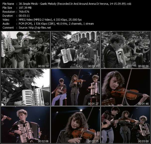 Simple Minds HQ Videoclip «Gaelic Melody (Recorded In And Around Arena Di Verona, Italy, 14-15.09.89)»