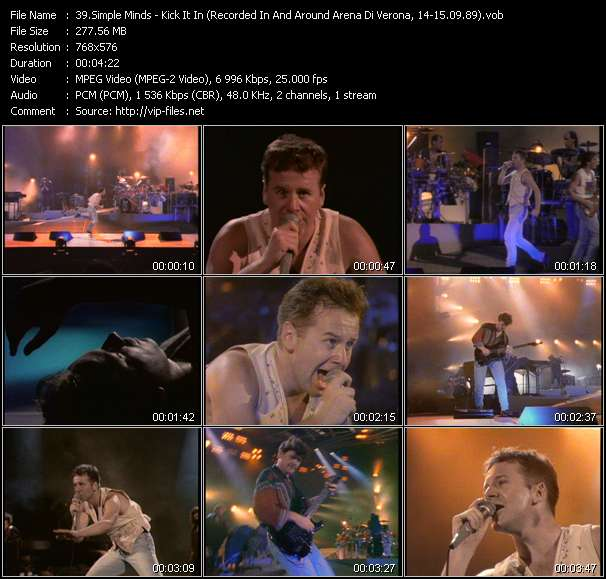Simple Minds HQ Videoclip «Kick It In (Recorded In And Around Arena Di Verona, Italy, 14-15.09.89)»