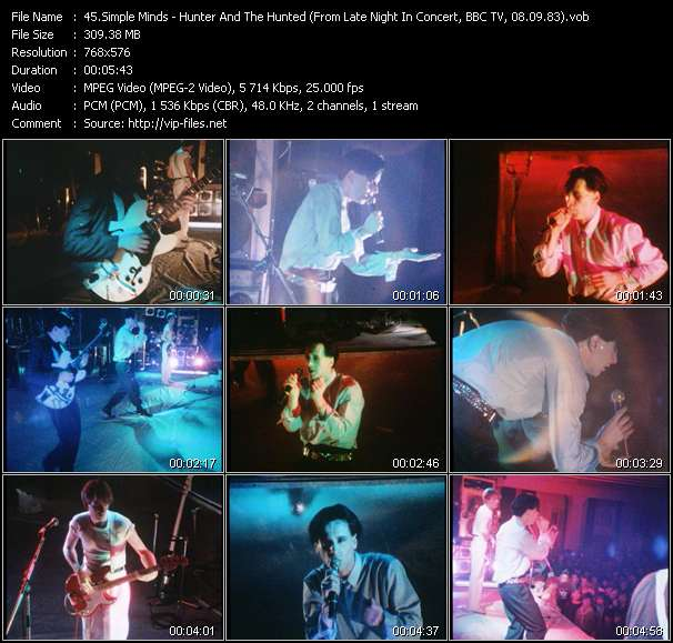 Simple Minds HQ Videoclip «Hunter And The Hunted (From Late Night In Concert, BBC TV, 08.09.83) (Recording From The Concert At City Hall, Newcastle, England, 20.11.82)»