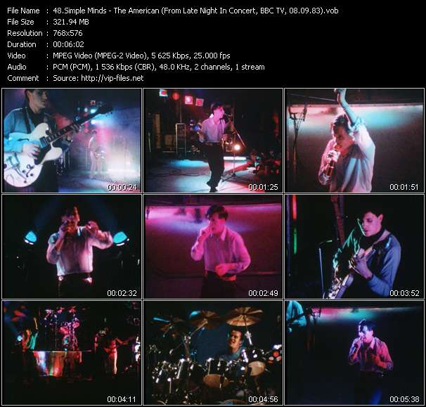 Simple Minds HQ Videoclip «The American (From Late Night In Concert, BBC TV, 08.09.83) (Recording From The Concert At City Hall, Newcastle, England, 20.11.82)»