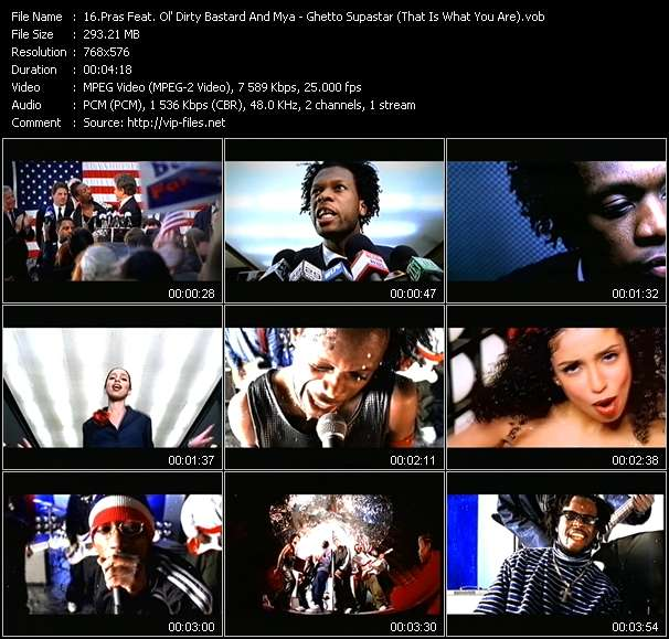 Pras (Pras Michel) Feat. Ol' Dirty Bastard And Mya HQ Videoclip «Ghetto Supastar (That Is What You Are)»