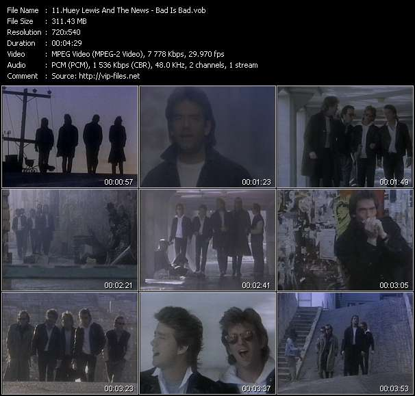 Huey Lewis And The News video - Bad Is Bad