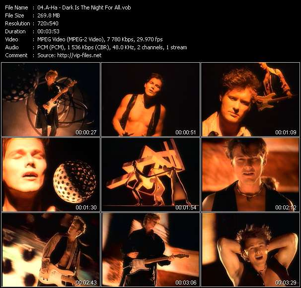 A-Ha video - Dark Is The Night For All