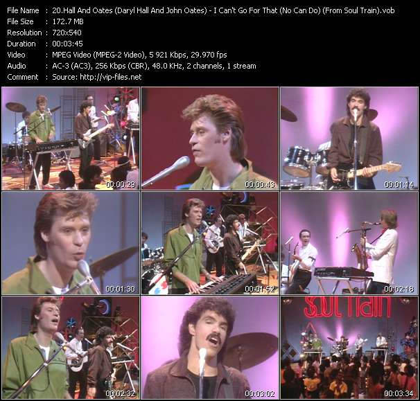 """Hall And Oates (Daryl Hall And John Oates) video - I Can't Go For That (No Can Do) (From """"Soul Train"""")"""