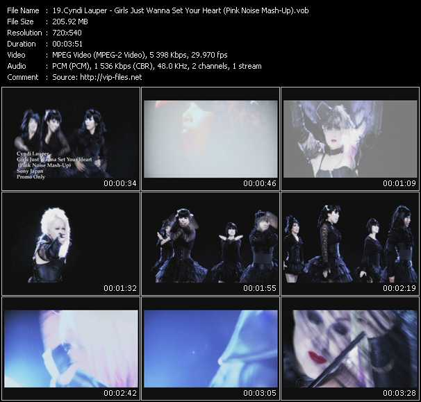 Cyndi Lauper video - Girls Just Wanna Set Your Heart (Pink Noise Mash-Up)