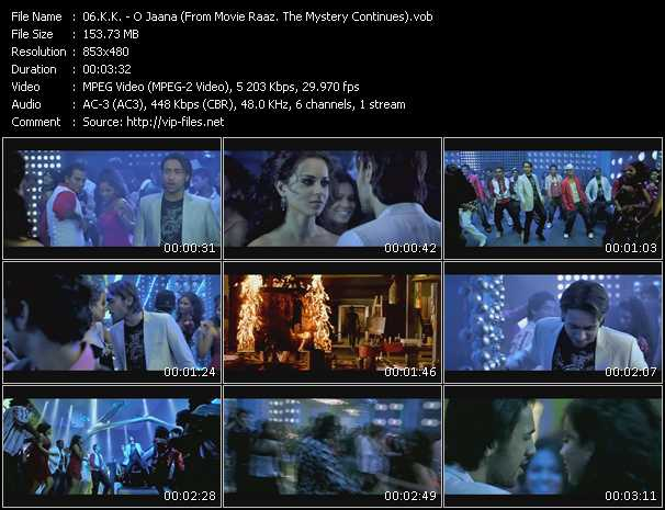 K.K. video - O Jaana (From Movie Raaz. The Mystery Continues)