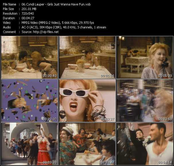 Cyndi Lauper video - Girls Just Wanna Have Fun
