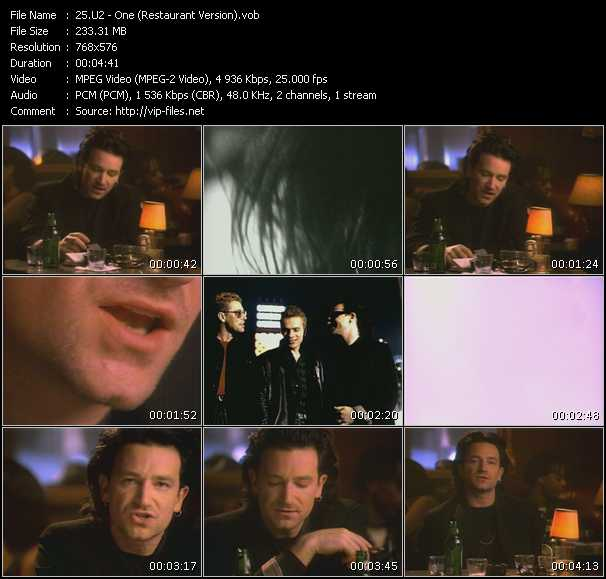 U2 video - One (Restaurant Version)