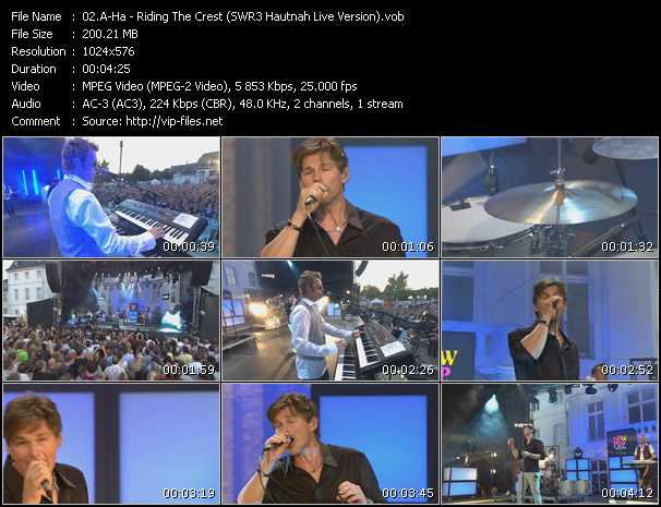 A-Ha video - Riding The Crest (SWR3 Hautnah Live Version)