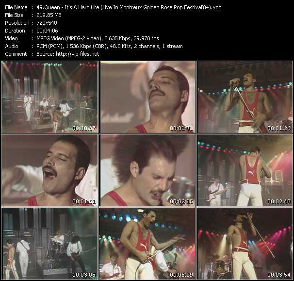 Queen video - It's A Hard Life (Live In Montreux Golden Rose Pop Festival'84)