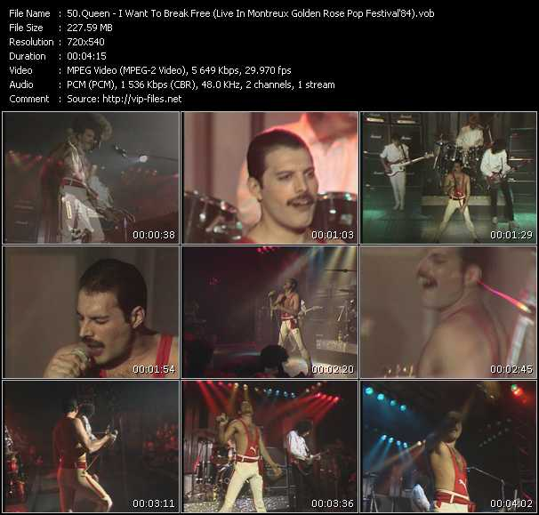 Queen video - I Want To Break Free (Live In Montreux Golden Rose Pop Festival'84)