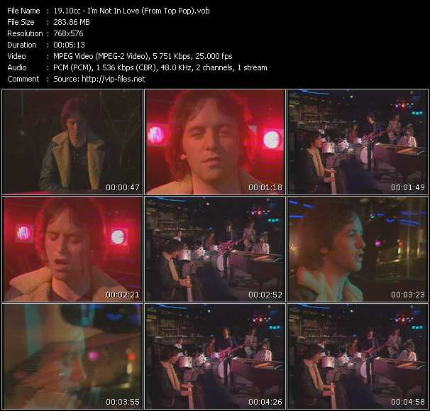 10cc video - I'm Not In Love (From Top Pop)