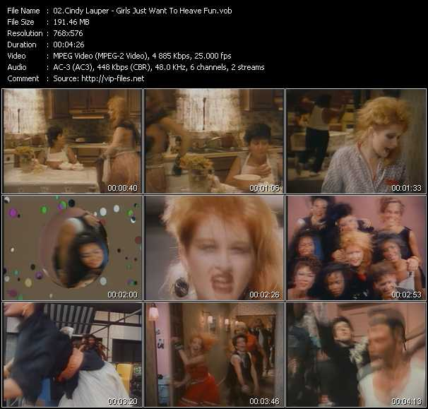 Cyndi Lauper video - Girls Just Want To Heave Fun