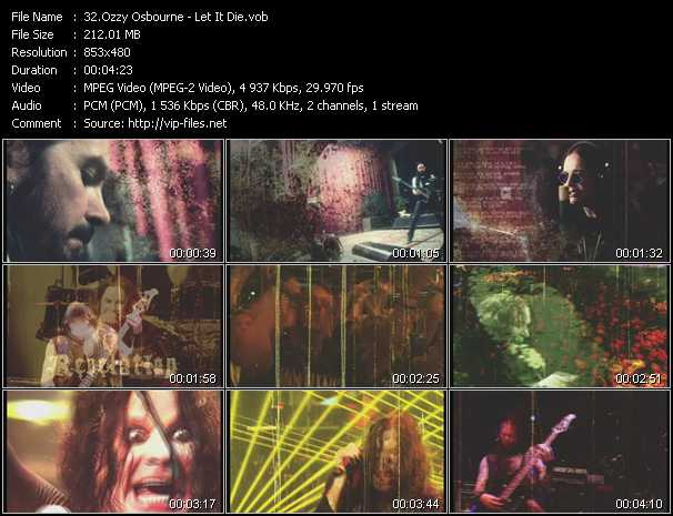 Ozzy Osbourne video - Let It Die