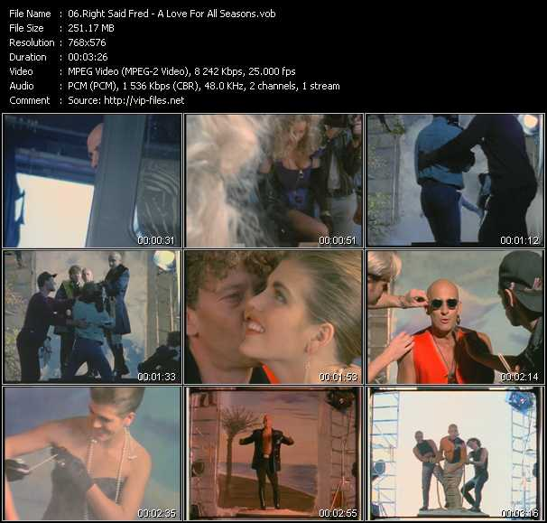 Right Said Fred video - A Love For All Seasons
