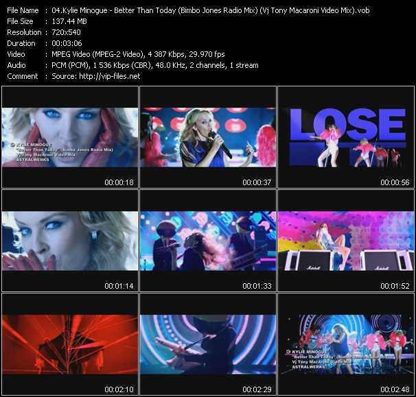 Kylie Minogue video - Better Than Today (Bimbo Jones Radio Mix) (Vj Tony Macaroni Video Mix)