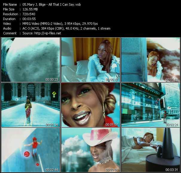 Mary J. Blige video - All That I Can Say