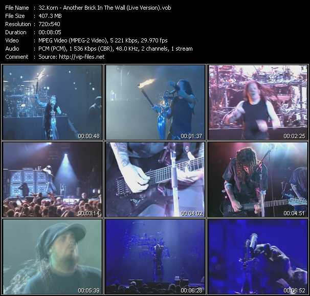 Korn video - Another Brick In The Wall (Live Version)