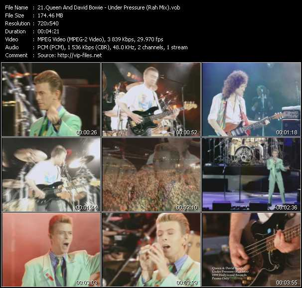 Queen And David Bowie video - Under Pressure (Rah Mix)