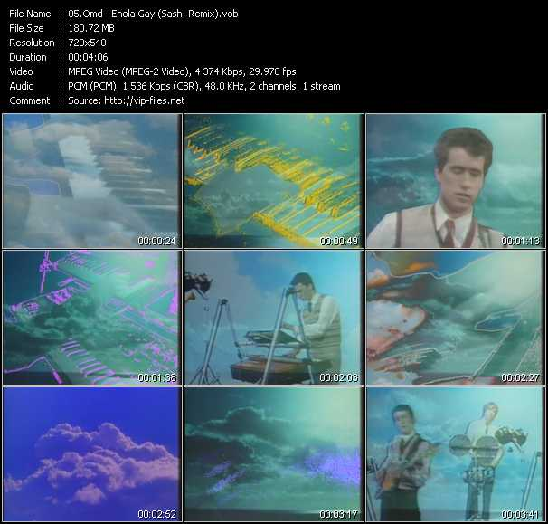 O.M.D. (Orchestral Manoeuvres In The Dark) video - Enola Gay (Sash! Remix)