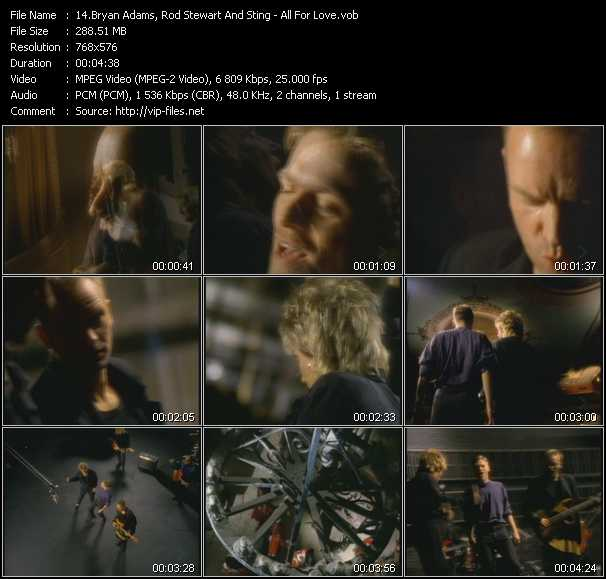 B. Adams, Rod Stewart And Sting video - All For Love