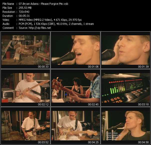 B. Adams video - Please Forgive Me