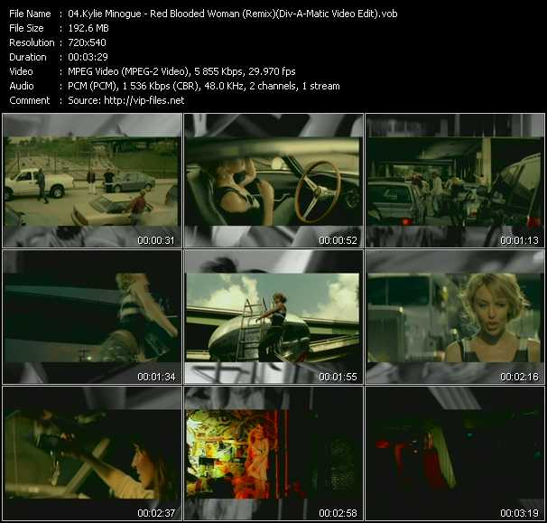 Kylie Minogue video - Red Blooded Woman (Remix) (Div-A-Matic Video Edit)