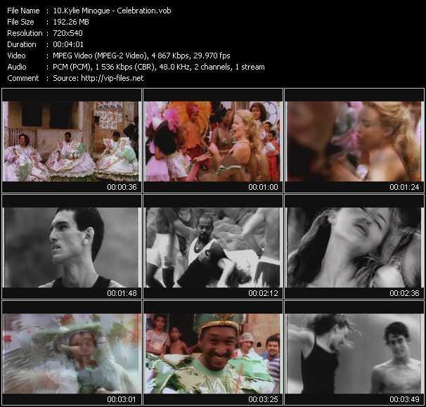 Kylie Minogue video - Celebration