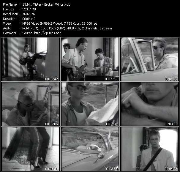 Mr. Mister video - Broken Wings